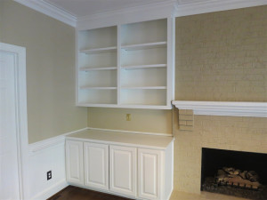 Fireplace Room with French Door Before and After - After 4
