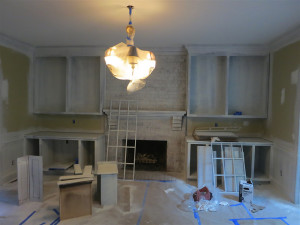 Fireplace Room with French Door Before and After - Before 1