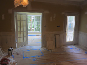 Fireplace Room with French Door Before and After - Before 2